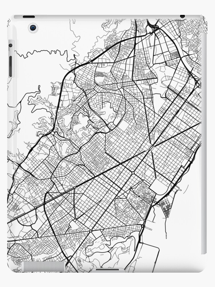 Map Of Spain Drawing.Barcelona Map Spain Black And White Ipad Cases Skins By