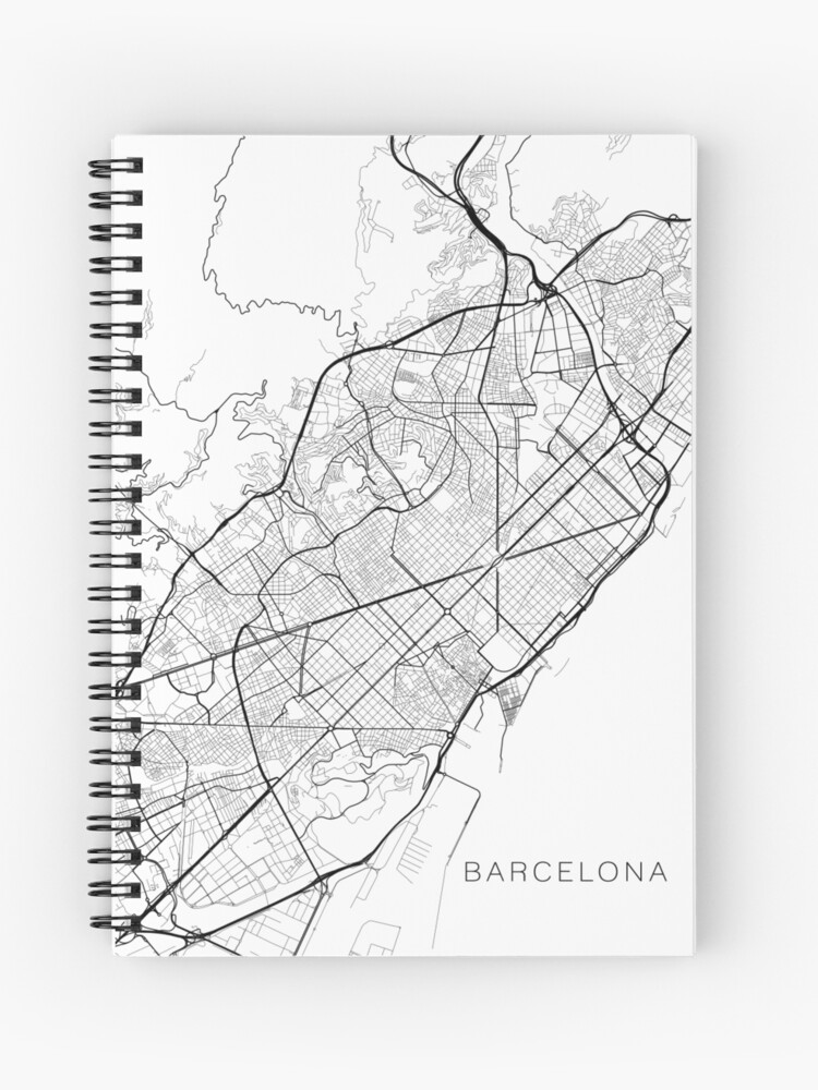 Spanien Karte Schwarz Weiß.Barcelona Karte Spanien Schwarz Und Weiß Spiralblock