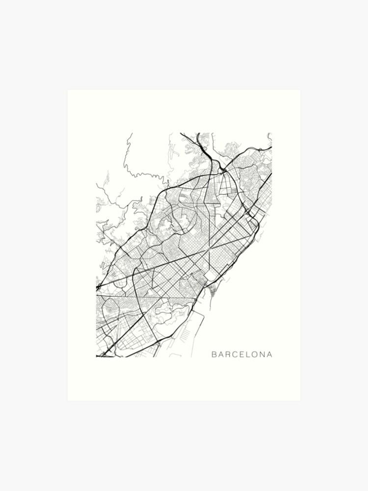 Spanien Karte Schwarz Weiß.Barcelona Karte Spanien Schwarz Und Weiß Kunstdruck
