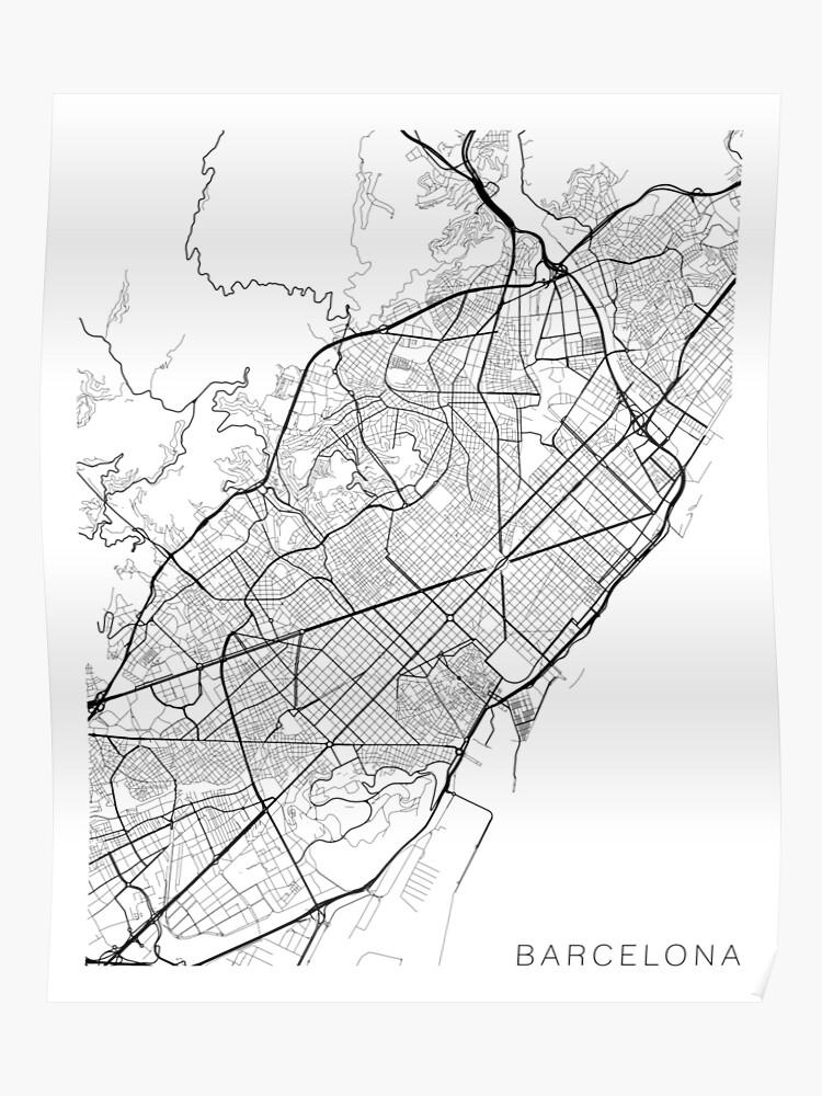 Carte Espagne Noir Et Blanc.Carte De Barcelone Espagne Noir Et Blanc Poster