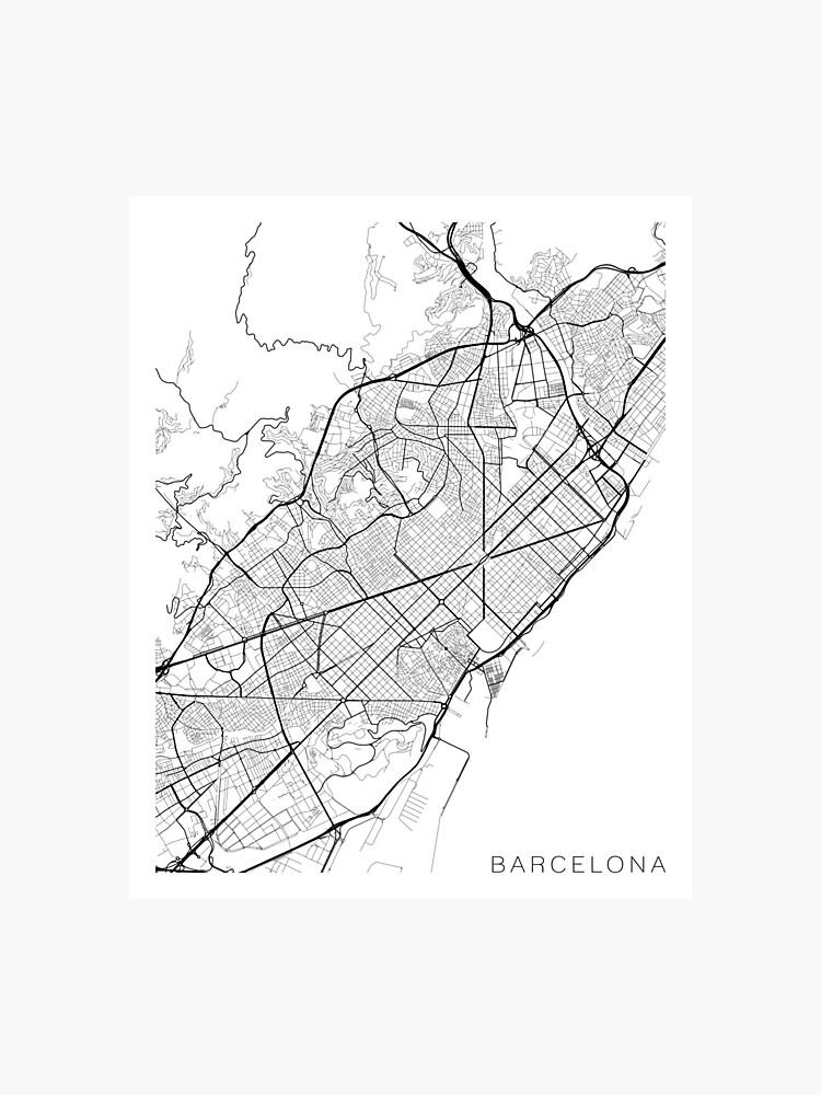 Spanien Karte Schwarz Weiß.Barcelona Karte Spanien Schwarz Und Weiß Fotodruck