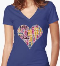 Love Cake Women's Fitted V-Neck T-Shirt