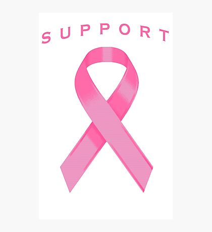 Pink Awareness Ribbon of Support Photographic Print