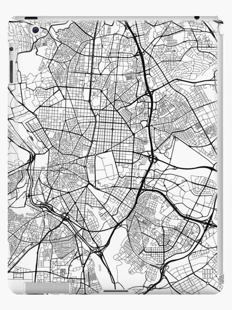 Carte Espagne Noir Et Blanc.Coque Et Skin Adhesive Ipad Carte De Madrid Espagne Noir Et Blanc Par Mainstreetmaps