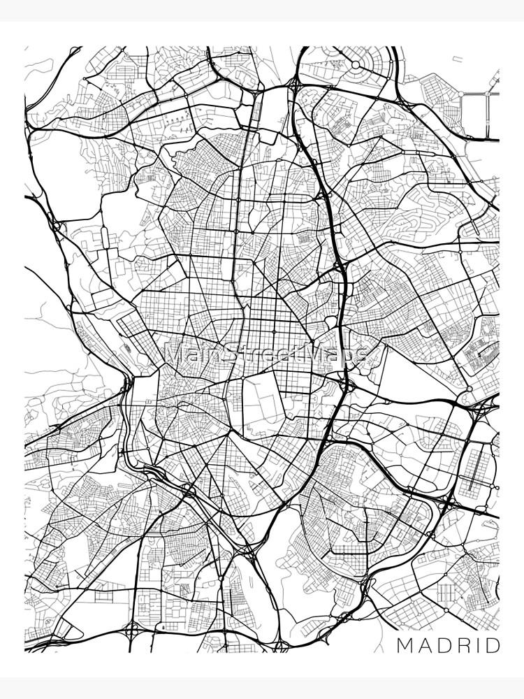 Carte Espagne Noir Et Blanc.Carte De Madrid Espagne Noir Et Blanc Impression Metallique