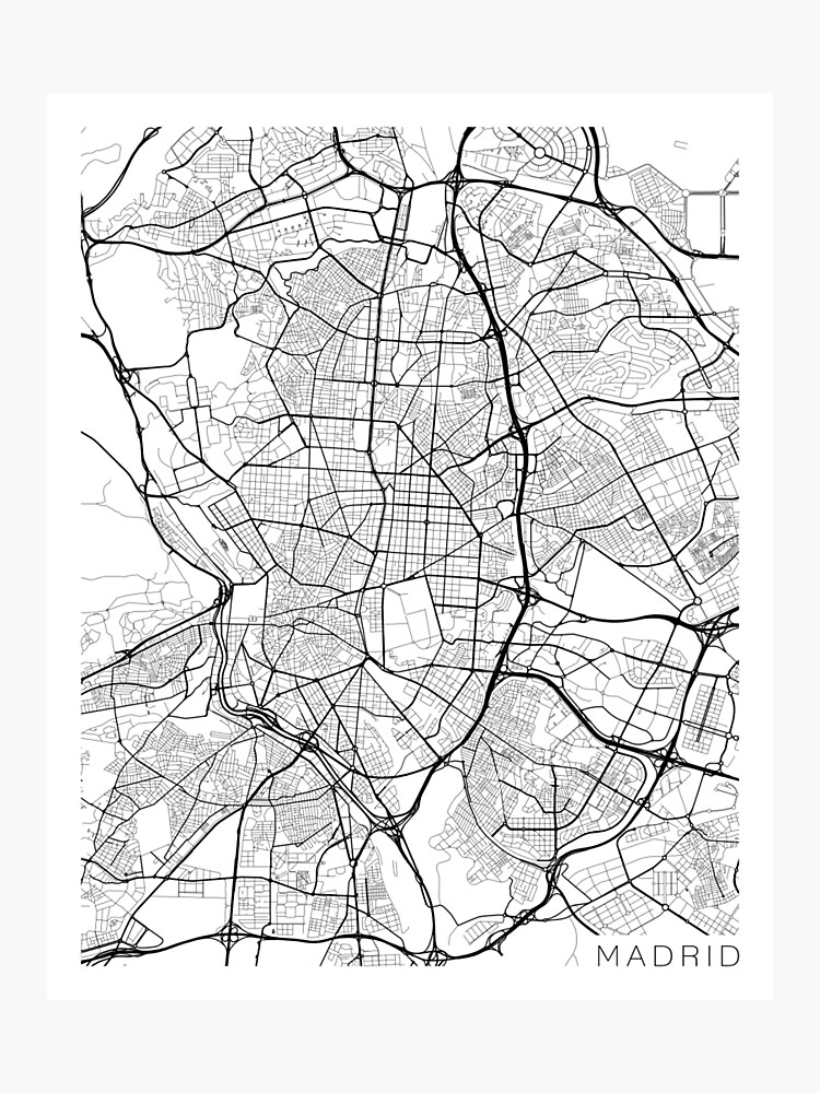 Madrid Map, Spain - Black and White\