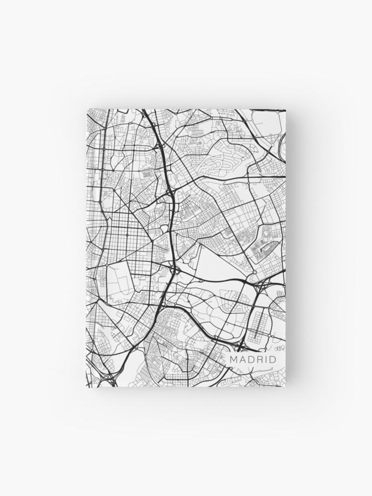 Carte Espagne Noir Et Blanc.Carte De Madrid Espagne Noir Et Blanc Carnet Cartonne
