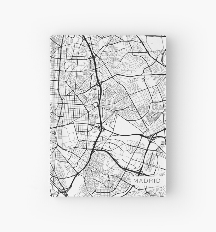 Map Of Spain Drawing.Madrid Map Spain Black And White Hardcover Journals By