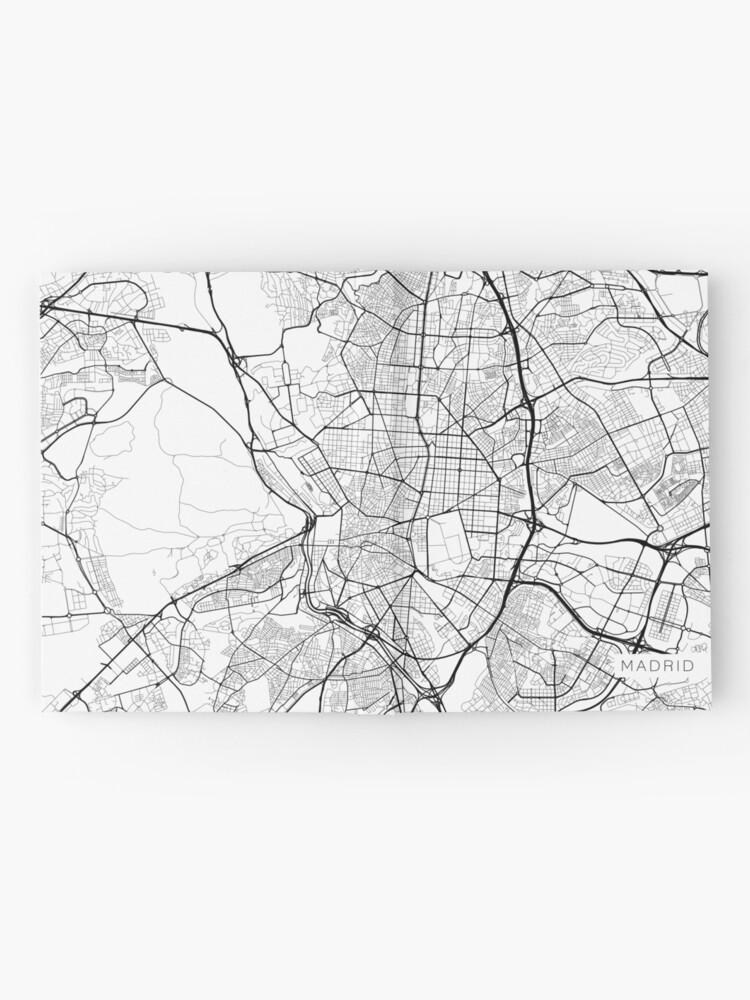 Alternative Ansicht von Madrid Map, Spanien - Schwarz und Weiß Notizbuch