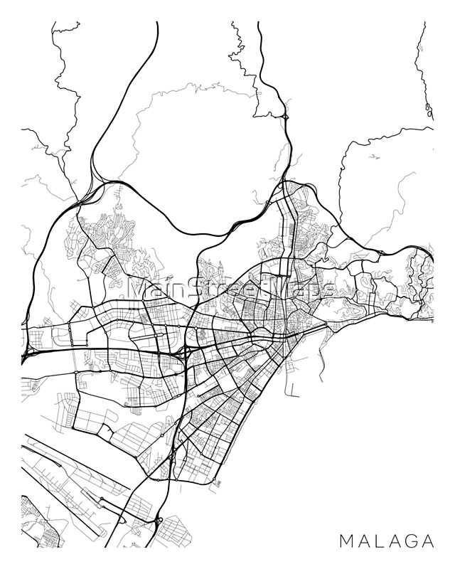 Map Of Spain Showing Malaga.Malaga Map Spain Black And White Art Print