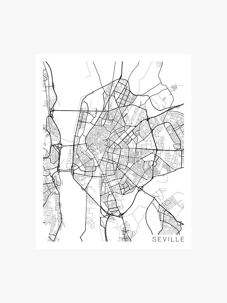 Spanien Karte Schwarz Weiß.Sevilla Karte Spanien Schwarz Und Weiß Fotodruck