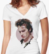 Jeff Buckley Tailliertes T-Shirt mit V-Ausschnitt