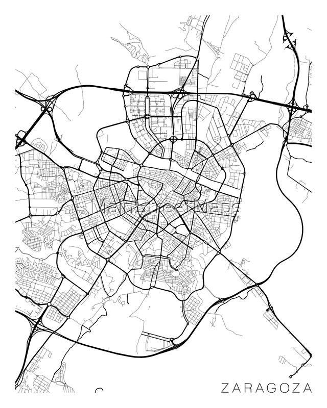 Zaragoza Map Spain Black and White Photographic Prints by