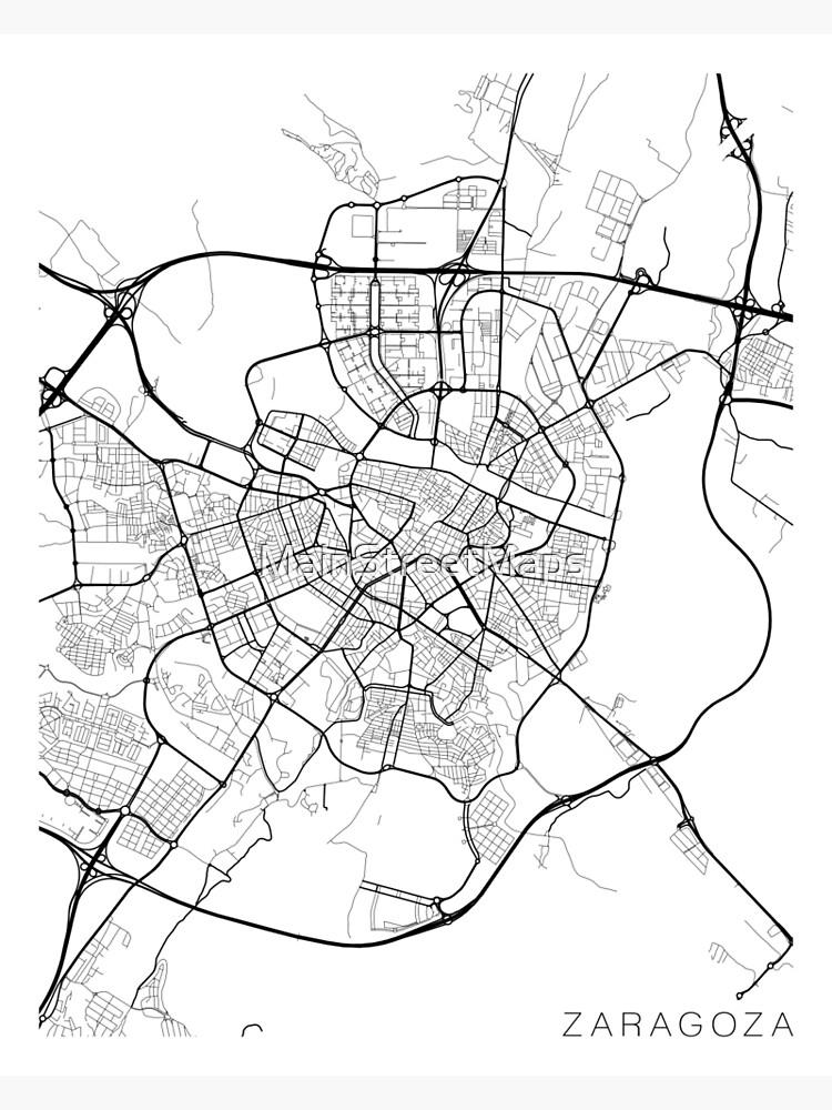 Zaragoza Map, Spain - Black and White   Photographic Print on tarraco spain map, barcelona spain map, tarragona spain map, aragon spain map, paris spain map, rio ebro spain map, alquezar spain map, jerez de la frontera spain map, marbella malaga spain map, madrid spain map, andujar spain map, mieres spain map, ponferrada spain map, southern spain map, sagunto spain map, huesca spain map, zarautz spain map, teguise spain map, bilbao spain map, zamora spain map,