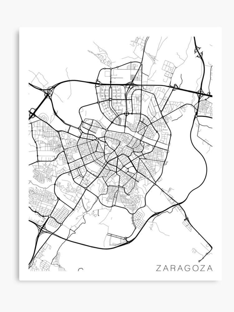 Zaragoza Map, Spain - Black and White