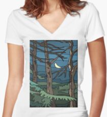 Abstract Tree Branch Night Scene Women's Fitted V-Neck T-Shirt