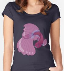 Purple, Gold and Blue Betta Fighting Fish  Women's Fitted Scoop T-Shirt