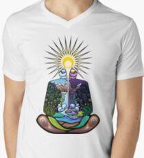 Psychedelic meditating Nature-man Men's V-Neck T-Shirt