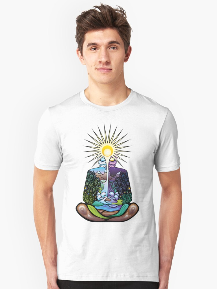 Psychedelic meditating Nature-man Unisex T-Shirt Front