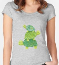 Cute Turtle Stack in Teal, Lime Green and Turquoise Women's Fitted Scoop T-Shirt