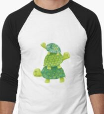 Cute Turtle Stack in Teal, Lime Green and Turquoise Men's Baseball ¾ T-Shirt