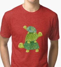 Cute Turtle Stack in Teal, Lime Green and Turquoise Tri-blend T-Shirt