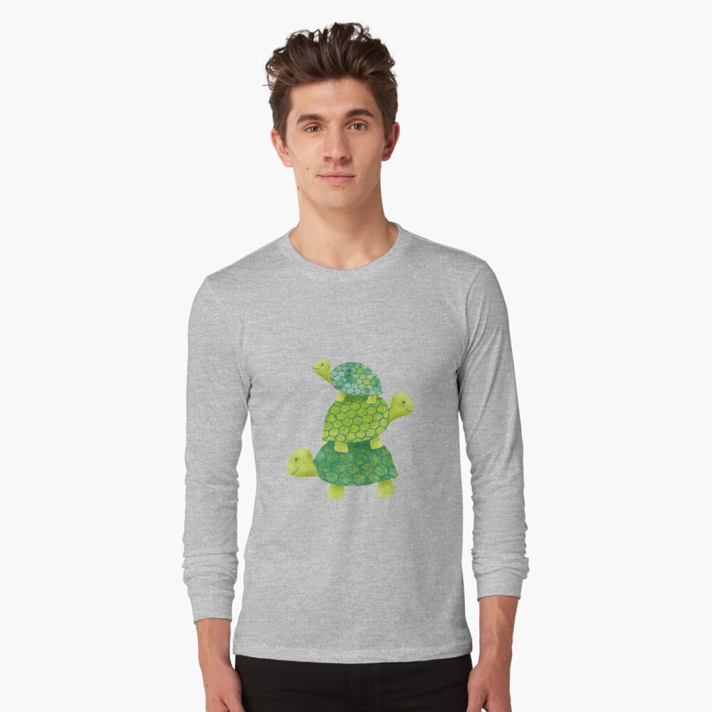 Cute Turtle Stack in Teal, Lime Green and Turquoise Long Sleeve T-Shirt