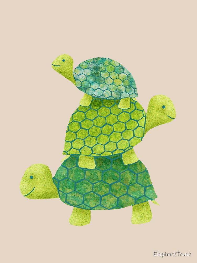 Linda pila de tortugas en verde azulado, verde lima y turquesa de ElephantTrunk
