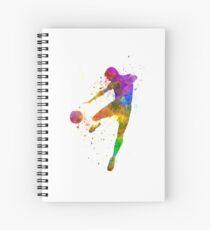 Cuaderno de espiral hombre fútbol jugador de fútbol volando patadas