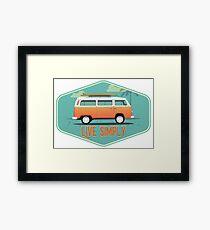 Live Simply - Beach Van Sticker Framed Print