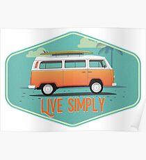 Live Simply - Beach Van Sticker Poster