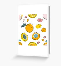 Seamless pattern Apricot jam and dried apricots Greeting Card