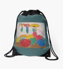 Floating Umbrellas Drawstring Bag