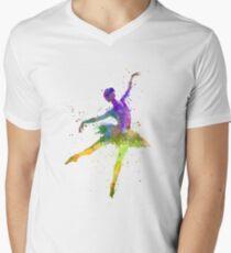 woman ballerina ballet dancer dancing  Men's V-Neck T-Shirt