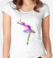 woman ballerina ballet dancer dancing  Women's Fitted Scoop T-Shirt