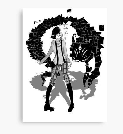 Grey Plaid Canvas Print