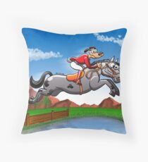 Equestrian Jumping Dog Riding a Horse Throw Pillow