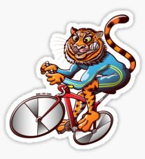 Cycling Tiger Riding a Racing Bicycle Sticker