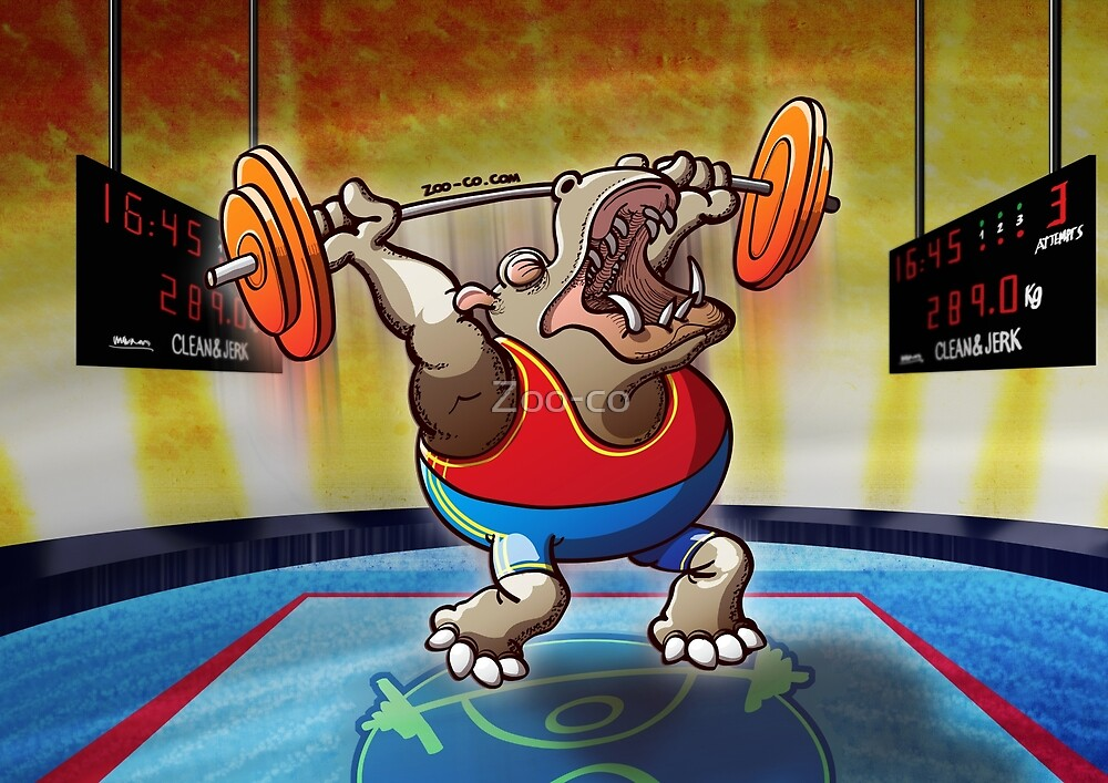 Weightlifting Hippopotamus by Zoo-co