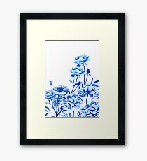 blue peony arrangement  Framed Print