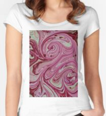 Pink, red and cream marble pattern Women's Fitted Scoop T-Shirt