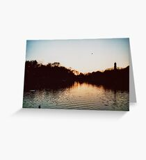 Sunset Over Highfields Park Lake Greeting Card