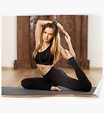 Woman yoga trainer in asana Poster