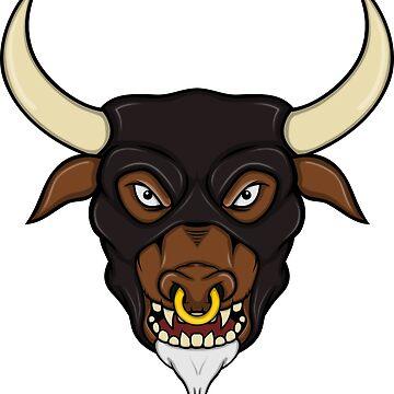 Masked Minotaur Bull Head by zaknafien