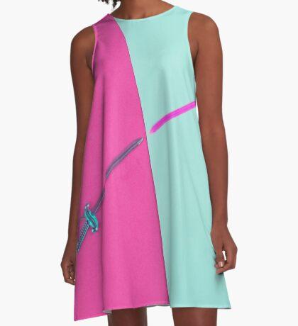 Magenta vs Cyan A-Linien Kleid