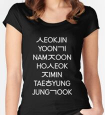 BTS members (hangul) - Black version Women's Fitted Scoop T-Shirt
