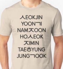 Camiseta unisex Miembros de BTS (Hangul)