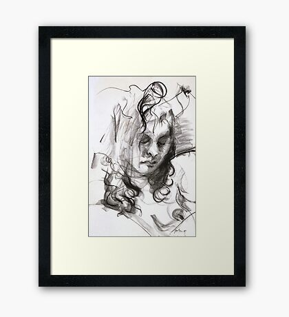 Janine (Black Pastel) Framed Print