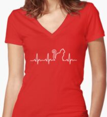 Cat Heartbeat Women's Fitted V-Neck T-Shirt