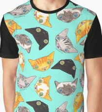 """Oro?"" Cats - Turquoise Graphic T-Shirt"